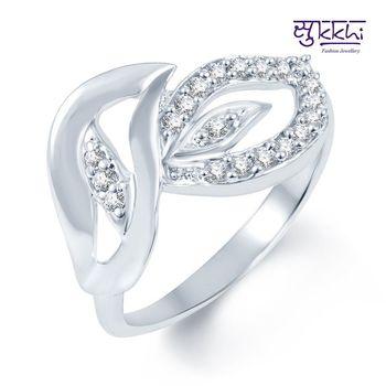 Sukkhi Indian Wedding Rodium plated CZ Studded Ring
