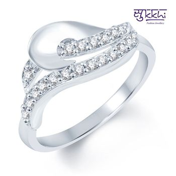 Sukkhi Artistically Crafted Rodium plated CZ Studded Ring