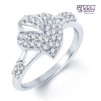Sukkhi Exquitely Crafted Rodium plated CZ Studded Ring