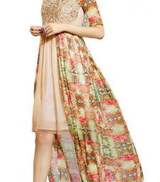 Buy Beige and multicolor embroidered Georgette kurtas-and-kurtis kurtas-and-kurti online