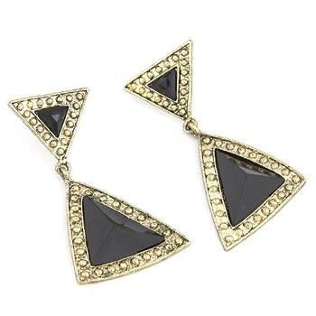 Black Geometric Blocks Earrings
