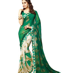 Buy Green and Cream printed georgette saree with blouse georgette-saree online