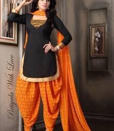 Buy Black printed crepe unstitched salwar with dupatta salwar-kameez-below-500 online