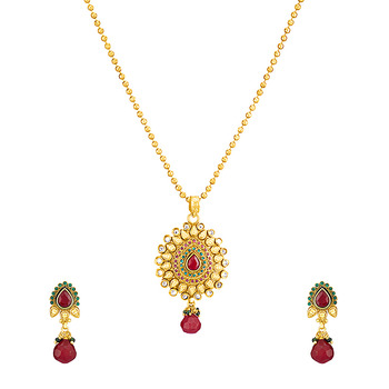 Traditional Ethnic Gold Plated Golden Grace Pendant Set with chain For Wome