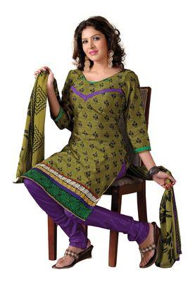 Fabdeal Casual Wear Olive & Purple  Colored Bhagalpuri Silk Dress Material
