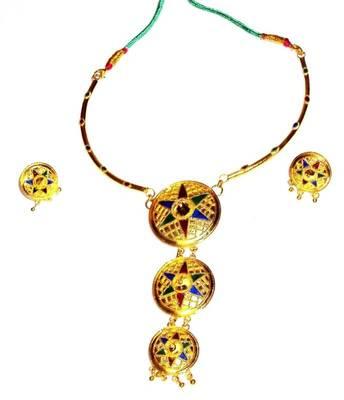 Handmade Indian Assamese Jewellery 3 Pc. Japi Set