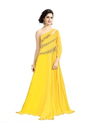 Yellow embroidered georgette semi stitched salwar with party-wear-gowns