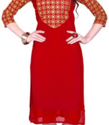 Buy Red embroidered Georgette kurtas-and-kurtis kurtas-and-kurti online