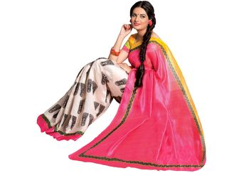 Fabdeal  Pink & White Bhagalpuri Silk Printed Saree With Blouse Piece