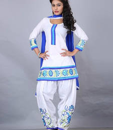 Buy White embroidered Cotton semi stitched salwar with dupatta salwar-kameez-below-2000 online