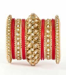 Buy Traditional solid colored kundan bangle set bangles-and-bracelet online