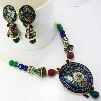 Meenakari Designer Pendant Necklace Peacock Blue Base