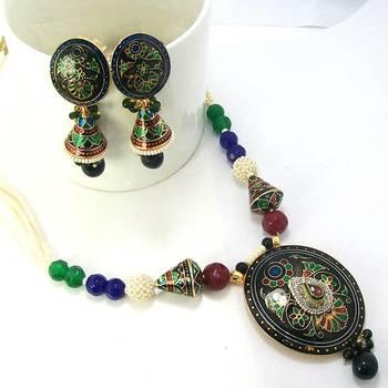 Meenakari Designer Pendant Necklace Black Blue Green 3