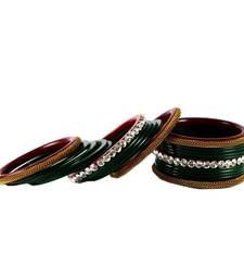 Buy Extra Large size Brass and Acrylic Bangle Color Dark Green bangles-and-bracelet online