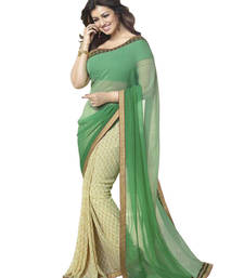 Buy Green and White printed georgette saree with blouse printed-saree online