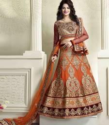 Buy Orange embroidered net unstitched lehenga eid-lehenga online