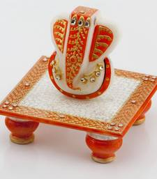Buy diwali decoration ideas Marvel In Marble - Gold Embossed Lord Ganesh With Chowki_51 diwali-gift online