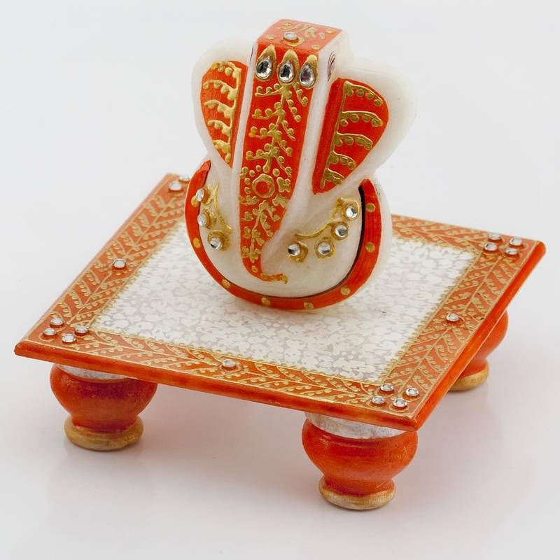 Buy Diwali Decoration Ideas Marvel In Marble Gold Embossed Lord Ganesh With Chowki 51 Online