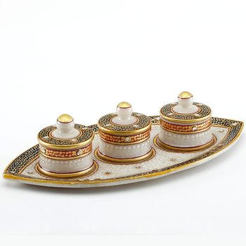 Marvel In Marble - Gold Embossed Boat Tray With Utility Containers_79