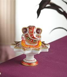 Buy Diwali decoration ideas Marble Ganesh mounted on Lotus pillar ganesh-chaturthi-gift online
