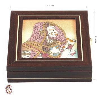 Fair Madien Motif Precious Stone Inlay Work  Box