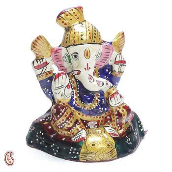 Hand Painted Enamelled Metal Turban Lord Ganesh Figurine