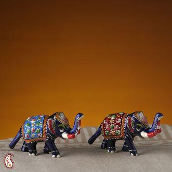 Miniature Enamelled Metal Hand Painted Royal Elephants set