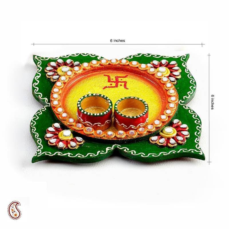 Buy clover leaf design wood and clay work pooja thali for Art and craft for diwali decoration