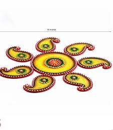 Buy Diwali Gift Hampers - Yellow, Green and Red Wood Clay Keri Floor Art { Rangoli } diwali-decoration online