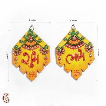 Diwali gifts offer Clay and Wood Shubh Labh Wall Art Hanging