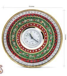 Buy White Marble Clock with Kundan and Meenakari work wall-clock online