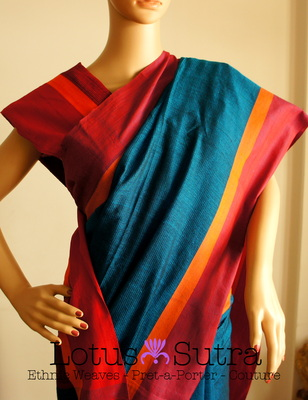 Cool Bengal Silk and Cotton Saree in Rich peacock blue colour