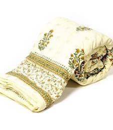 Buy White Base Hand Block Printed Cotton Double Quilt Deepawali Special Gift 320 jaipuri-razai online