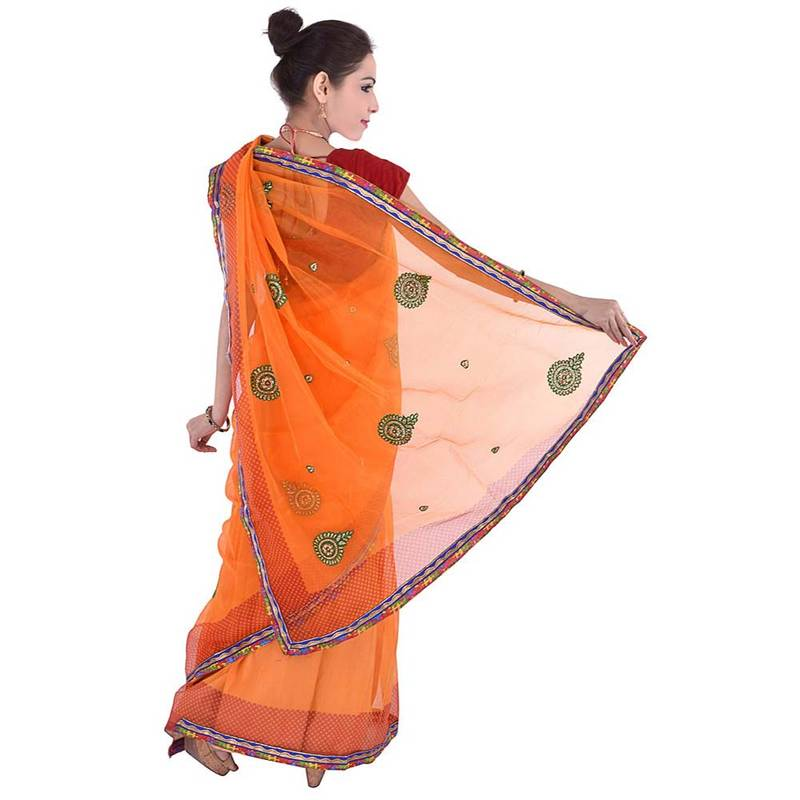 Buy zari resham embroidery work n fancy border saree