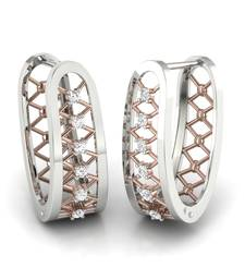 Buy Sightly Platinum Plated Swarovski Crystal Sterling Silver Chandbali Earring hoop online