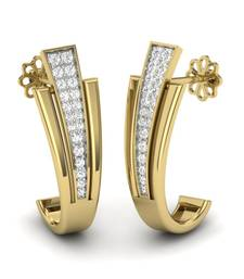 Buy Glitzy Platinum Plated Swarovski Crystal Sterling Silver Chandbali Earring hoop online
