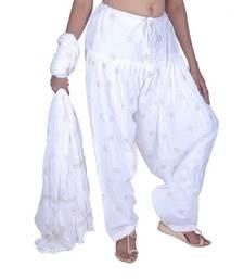 Buy White Rogan Printed Cotton Patiala & Dupatta Set salwars-and-churidar online