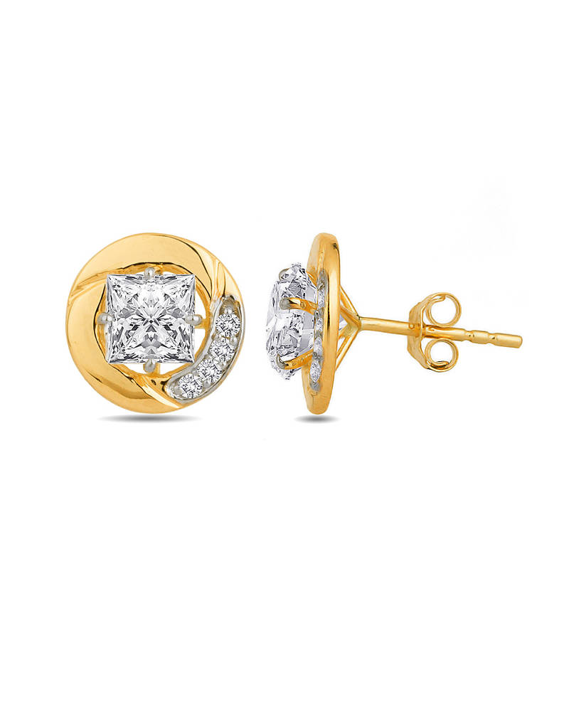 Buy 18K Hallmarked Gold Stud Earrings With Round Swarovski Stone ...