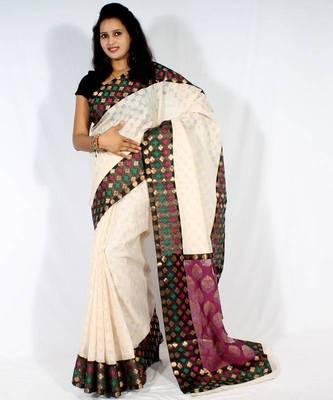 Designer supernet fancy aanchal border saree