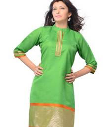 Buy Green Printed Art Silk 3/4th Sleeves Kurti kurtis-below-500 online