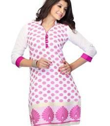 Buy White Printed Jacquard 3/4th Sleeves Kurti kurtas-and-kurti online