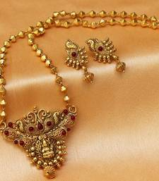 Buy Gorgeous gold plated antique temple pendant set Pendant online