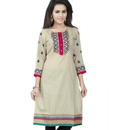 Buy Beige printed Jacquard 3/4 Sleeve Kurti kurtas-and-kurti online