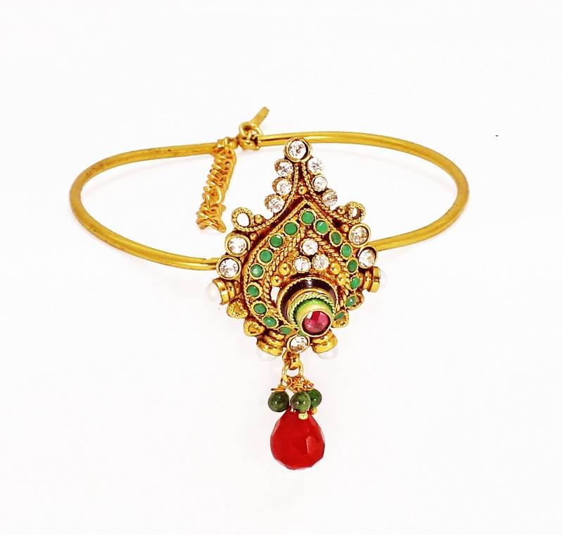 Buy Modern Style & Antique Design Gold Plated Bajuband with Red ...