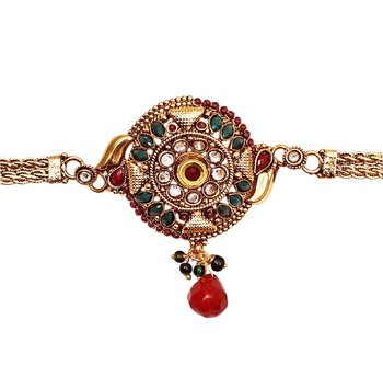 Designer & Traditional Style gold plated Green Red Stone Bajuband/ Armlets for indian Women Jewellery