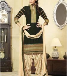 Buy Dark Green cotton embroidered semi_stitched salwar with dupatta collar-neck-design online