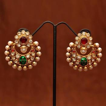 Anvi's polki chand bali with ruby,pearls and enamel