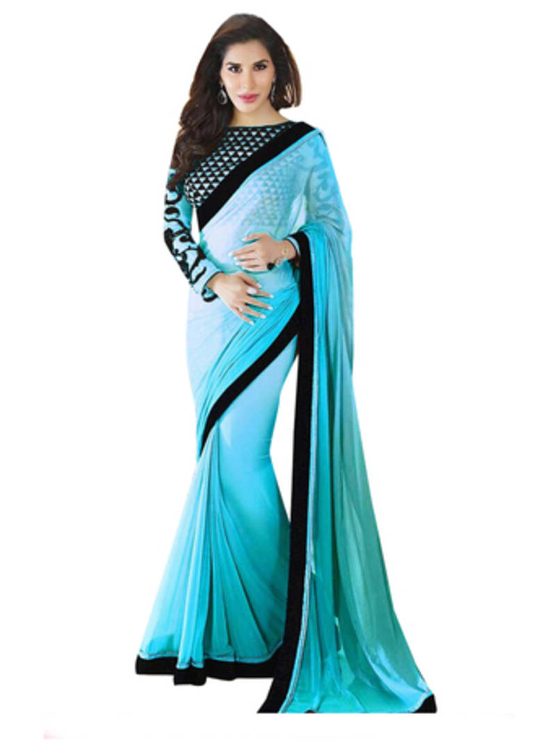 Buy Sky Blue Plain Georgette Saree With Blouse Online