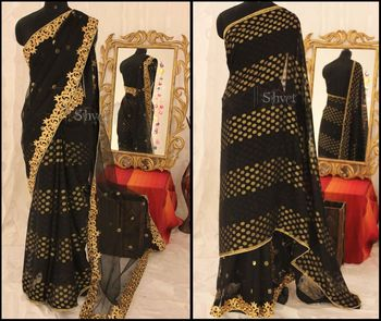 Black and Gold two sided Saree