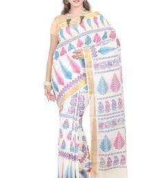 Buy cream printed cotton saree with blouse kerala-saree online